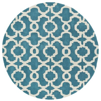 Molly Hand-Tufted Teal / Ivory Area Rug Rug Size: Round 79