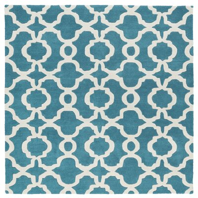 Molly Hand-Tufted Teal / Ivory Area Rug Rug Size: Square 79