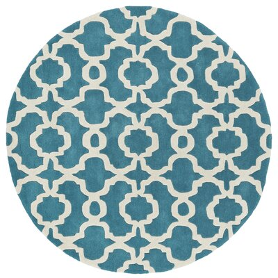 Molly Hand-Tufted Teal / Ivory Area Rug Rug Size: Round 99
