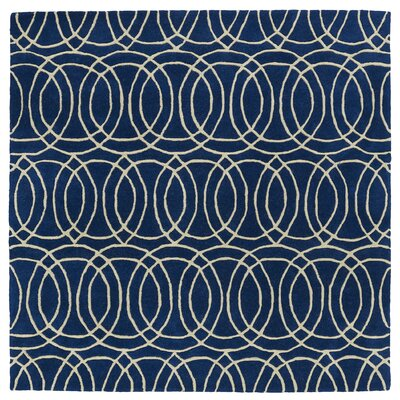 Molly Hand-Tufted Navy / Ivory Area Rug Rug Size: Square 39