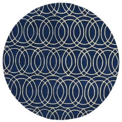 Brann Hand-Tufted Navy / Ivory Area Rug Rug Size: Round 59