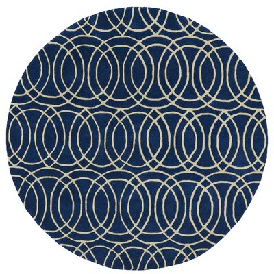 Molly Hand-Tufted Navy / Ivory Area Rug Rug Size: Round 79