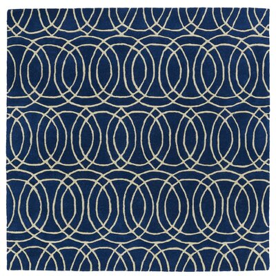 Molly Hand-Tufted Navy / Ivory Area Rug Rug Size: Square 79