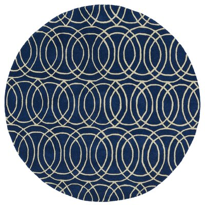 Molly Hand-Tufted Navy / Ivory Area Rug Rug Size: Round 99