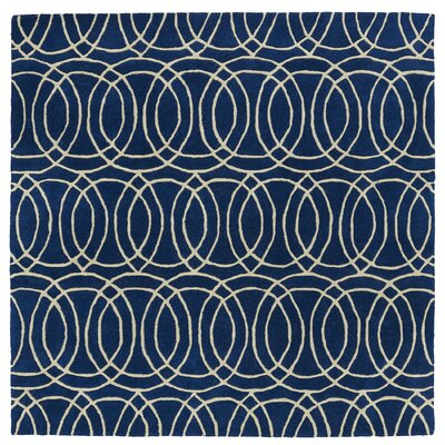 Molly Hand-Tufted Navy / Ivory Area Rug Rug Size: Square 99