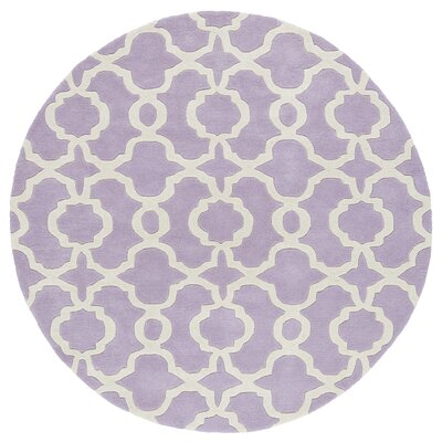 Molly Hand-Tufted Lilac / Ivory Area Rug Rug Size: Round 59