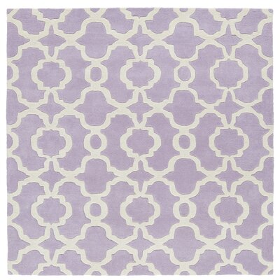 Molly Hand-Tufted Lilac / Ivory Area Rug Rug Size: Square 59