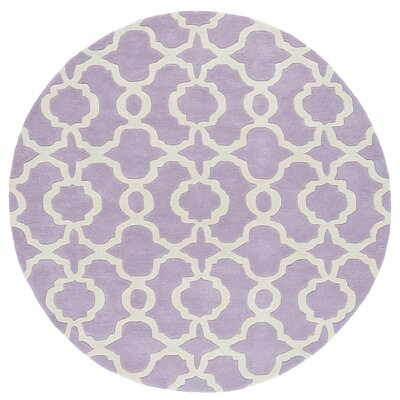 Brann Hand-Tufted Lilac / Ivory Area Rug Rug Size: Round 79