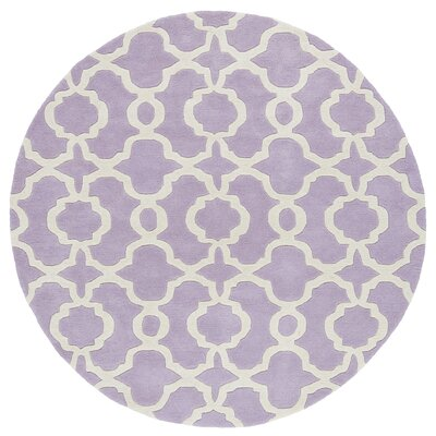 Brann Hand-Tufted Lilac / Ivory Area Rug Rug Size: Round 99