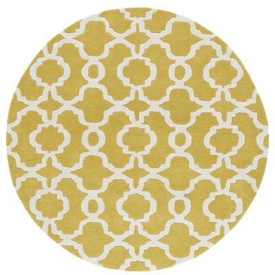 Molly Hand-Tufted Yellow / Ivory Area Rug Rug Size: Round 119