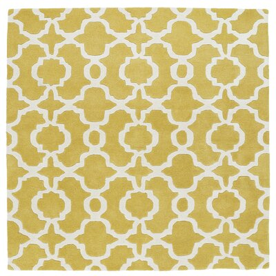Molly Hand-Tufted Yellow / Ivory Area Rug Rug Size: Square 119