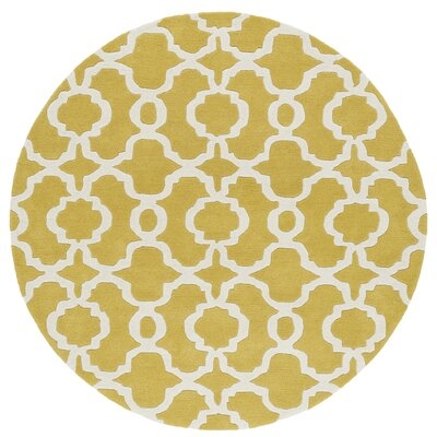 Molly Hand-Tufted Yellow / Ivory Area Rug Rug Size: Round 59