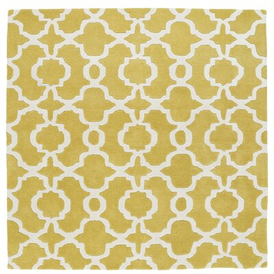 Molly Hand-Tufted Yellow / Ivory Area Rug Rug Size: Square 5'9