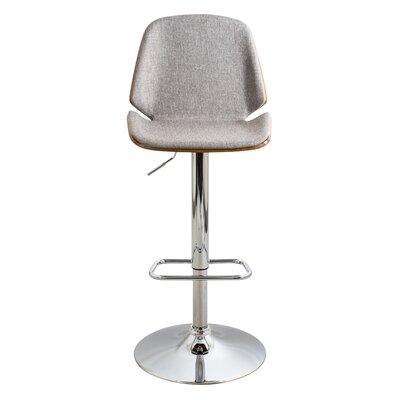 Division Street Adjustable Height Swivel Bar Stool Seat Color: Gray