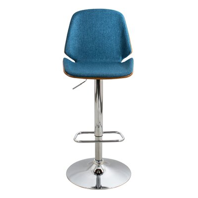 Division Street Adjustable Height Swivel Bar Stool Seat Color: Blue