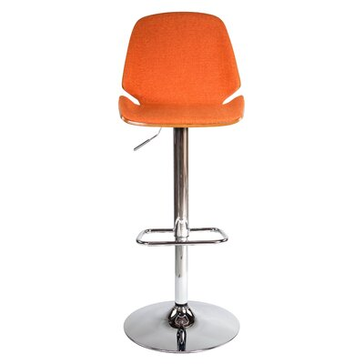 Division Street Adjustable Height Swivel Bar Stool Seat Color: Orange