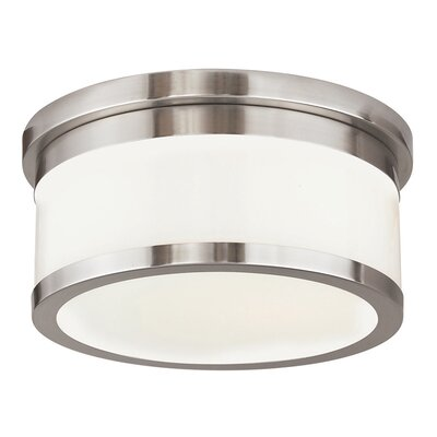Canning 2-Light Drum/Cylinder Shade Flush Mount Finish: Brushed Nickel