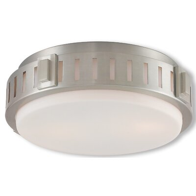 Kuhl 2-Light Flush Mount Finish: Brushed Nickel, Size: 3.8 H x 11 W x 11 D