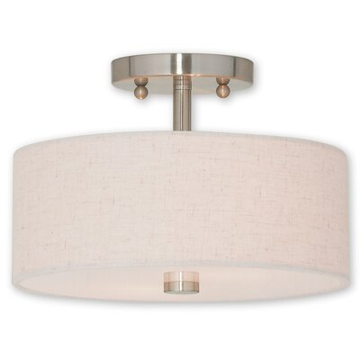 Alina 2-Light Semi Flush Mount Finish: Brushed Nickel, Size: 7.5 H x 13 W x 13 D