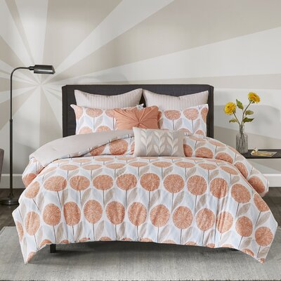 Wyss 7 Piece Cotton Comforter Set Size: Full/Queen, Color: Coral