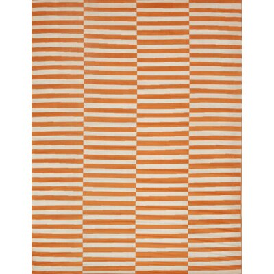 Braxton Orange/White Area Rug Rug Size: 9 x 12