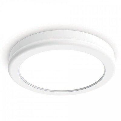 Stanwyck 1-Light Flush Mount Finish: White, Bulb Color Temperature: 3000K, Size: 0.88 H x 10 W x 10 D