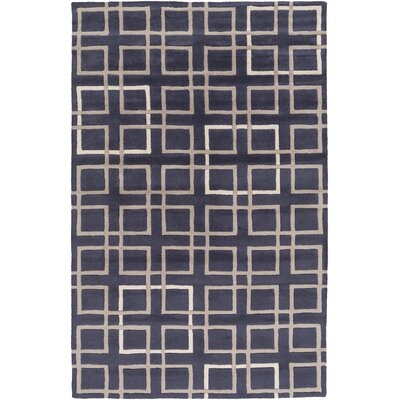 Deanna Navy/Taupe Geometric Area Rug Rug Size: Rectangle 5 x 8