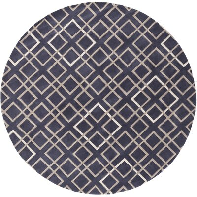 Deanna Navy/Taupe Geometric Area Rug Rug Size: Round 8