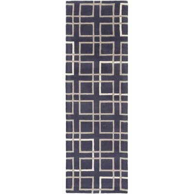 Deanna Navy/Taupe Geometric Area Rug Rug Size: Runner 26 x 8