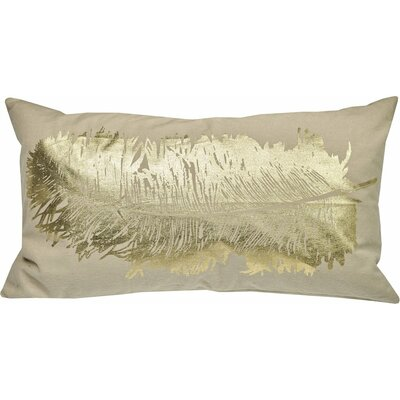 Anacletus Metallic Feather Lumbar Pillow Color: Gold