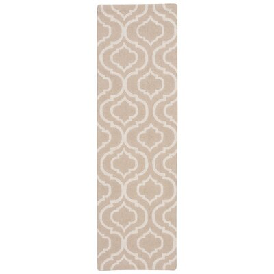 Aidyn Hand-Hooked Beige Area Rug Rug Size: Runner 23 x 76