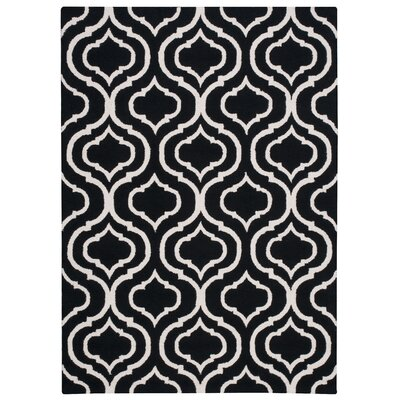 Aidyn Hand-Hooked Black Area Rug Rug Size: Rectangle 5 x 7