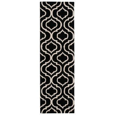 Aidyn Hand-Hooked Black Area Rug Rug Size: Runner 23 x 76