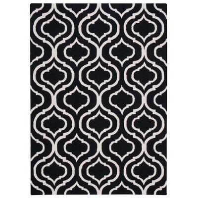 Aidyn Hand-Hooked Black Area Rug Rug Size: 39 x 59