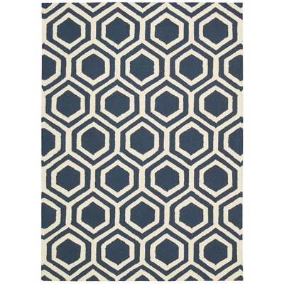 Aidyn Hand-Knotted Blue/Ivory Area Rug Rug Size: Rectangle 5 x 7