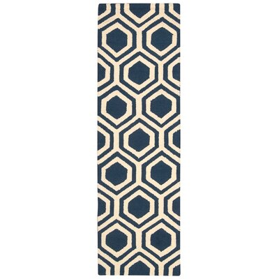 Aidyn Hand-Knotted Blue/Ivory Area Rug Rug Size: Runner 23 x 76