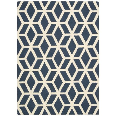 Aidyn Hand-Knotted Blue/Ivory Area Rug Rug Size: 39 x 59