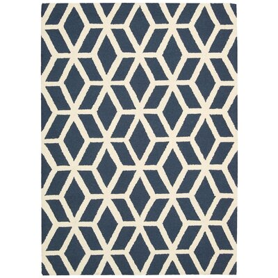 Aidyn Hand-Knotted Blue/Ivory Area Rug Rug Size: 76 x 96