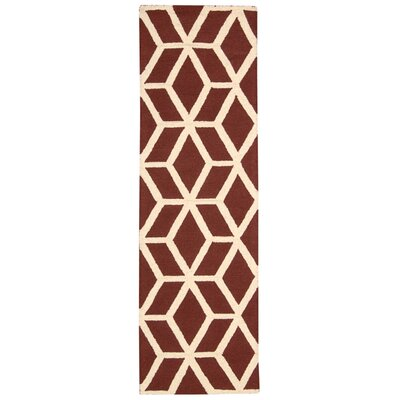 Aidyn Hand-Knotted Brick/Ivory Area Rug Rug Size: Runner 23 x 76