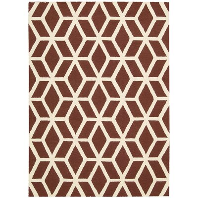 Aidyn Hand-Knotted Brick/Ivory Area Rug Rug Size: 39 x 59