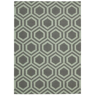 Aidyn Hand-Knotted Gray/Aqua Area Rug Rug Size: 39 x 59