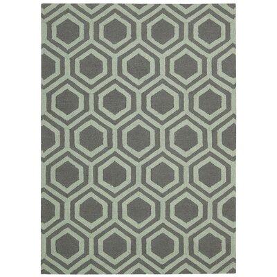 Aidyn Hand-Knotted Gray/Aqua Area Rug Rug Size: 8 x 11