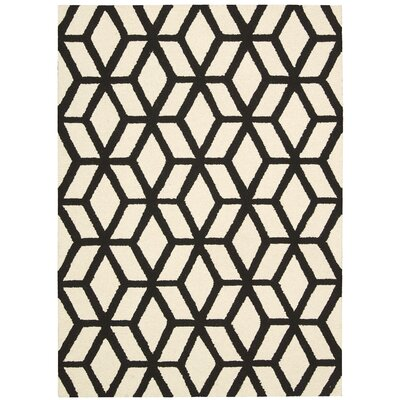 Nohemi Hand-Knotted Ivory/Black Area Rug Rug Size: 39 x 59
