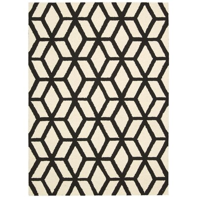 Nohemi Hand-Knotted Ivory/Black Area Rug Rug Size: 5 x 7