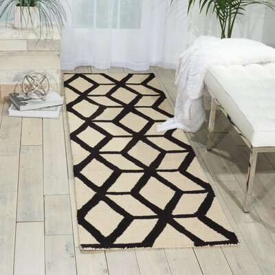 Nohemi Hand-Knotted Ivory/Black Area Rug Rug Size: Runner 23 x 76