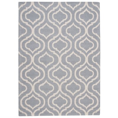 Aidyn Hand-Hooked Light Blue Area Rug Rug Size: 5 x 7
