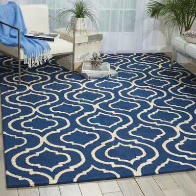 Aidyn Hand Hooked Wool Navy Blue Area Rug Rug Size: Rectangle 76 x 96