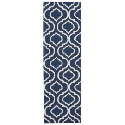 Aidyn Hand-Hooked Navy Blue Area Rug Rug Size: Runner 23 x 76