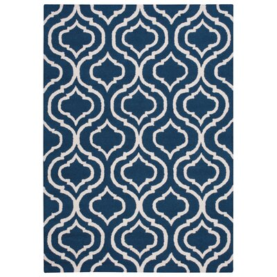 Aidyn Hand-Hooked Navy Blue Area Rug Rug Size: 5 x 7