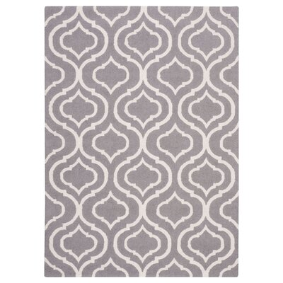 Aidyn Hand-Hooked Gray Area Rug Rug Size: Rectangle 76 x 96